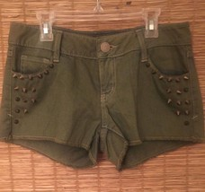 Women's Green Studded Denim Decree Short Shorts Size 5 Jean - $12.65