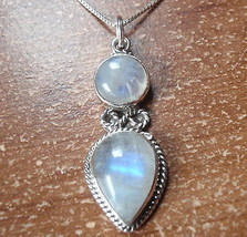 Moonstone Infinity Symbol 925 Sterling Silver Necklace Rope Style Accented - $354,14 MXN