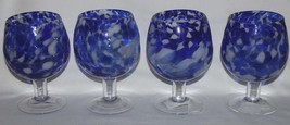 4 LRG Royal / Cobalt Blue & White Blown Glass Fishbowl Goblets NWT Circle Glass - $44.99