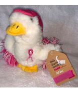 "Aflac Talking Duck Plush Wears Pink Hat Breast Cancer Ribbon PomPoms  6""... - $15.83"