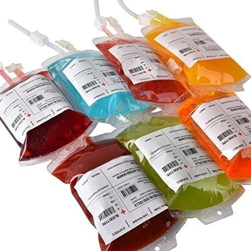 Vampire Blood Bags 10 Reusable IV Drink Containers Theme Party Decoration Cups