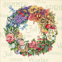 """Dimensions/Gold Collection Counted Cross Stitch Kit 14""""X14""""-Wreath Of All Season - $77.09"""