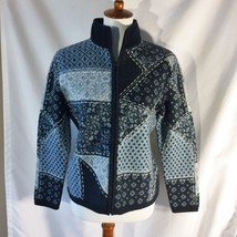 Talbots Zip Cardigan Size S Womens Blue Patchwork Look Sweater 100% Meri... - $19.34