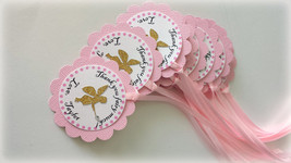 Pink and gold Fairy party favor tags. Fairy birthday thank you tags. Gar... - $13.99