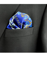 Men's Pocket Square Handkerchief Wedding Fashion Dress Chain Silk Blue H... - $19.75