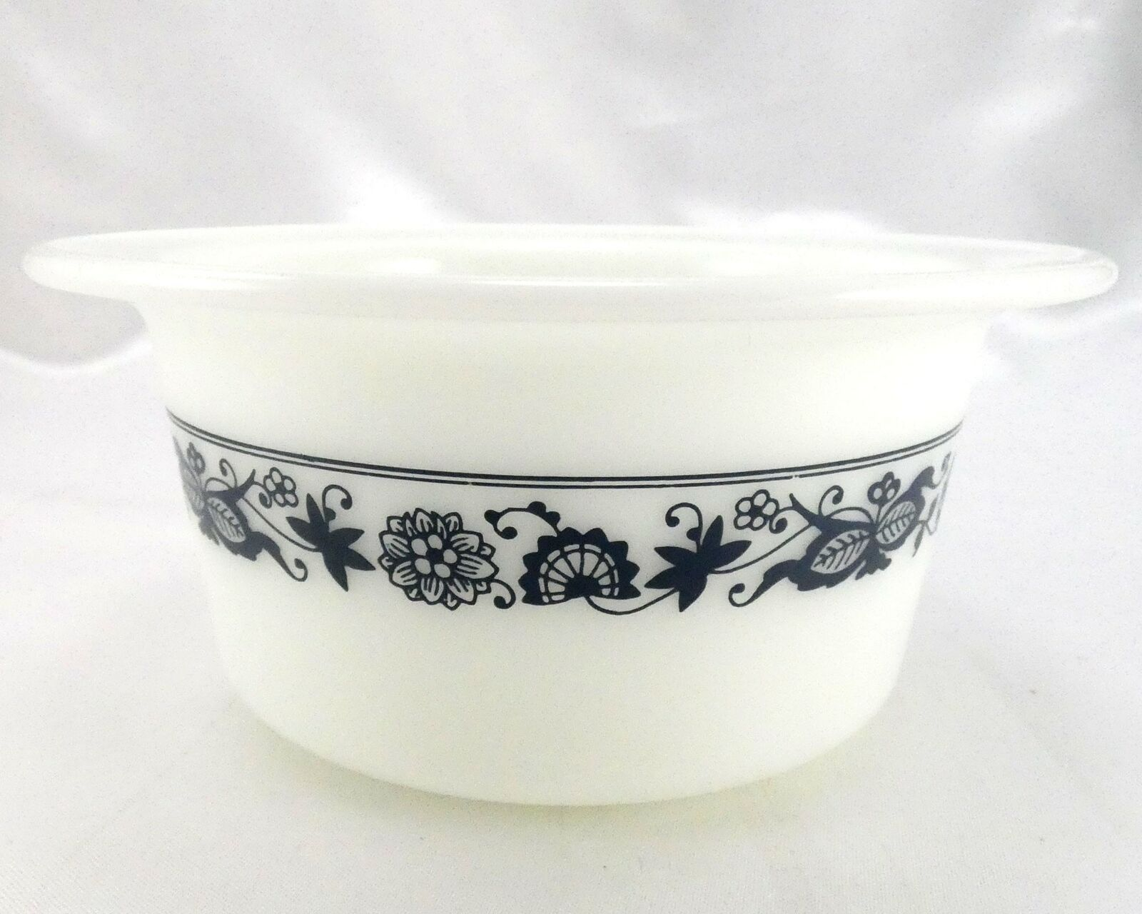 Pyrex 75 Old Town Dish Blue Wide Extended Rim Crock Style Bowl ~ Made in the USA image 3
