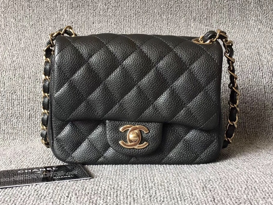 ULTRA RARE AUTH CHANEL 2018 SMOKEY BLACK QUILTED CAVIAR SQUARE MINI FLAP BAG GHW