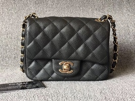 ULTRA RARE AUTH CHANEL 2018 SMOKEY BLACK QUILTED CAVIAR SQUARE MINI FLAP... - $4,299.99