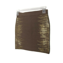 GUESS Womens Size Small Brown Fitted Bandage Bodycon Mini Skirt Gold  - $23.33