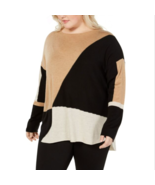 INC womens Color blocked Long Sleeve HTHR ginger Sweater Plus Size 2X - $24.64