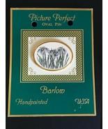 Estate Barlow Handpainted Purple Iris Flowers Oval Pin Brooch – 1 and 5/... - $18.55