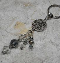 Tree of Life Crystal Beaded Handmade Keychain Split Key Ring Blue Topaz - $16.48