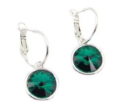 Swarovski Elements Round Green Emerald Rhodium Plated Dangle Earrings - $26.14