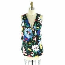 M - Deletta Anthropologie Bold Floral Patterned Draped Tank Top 0000MB - $25.00
