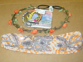 Urban Outfitters lot 2 headbands beaded chain + 8 hair ties boho-NWT-$74.00 - $27.87