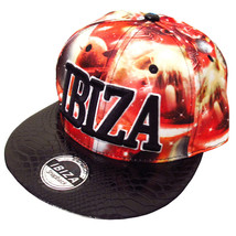 Ibiza Snapback Cap Red Planets Trucker Hat Space Red Black Faux Leather ... - $42.12