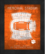 "Clemson Tigers Memorial ""Retro"" Stadium Seating Chart 13x16 Framed Print  - $39.95"