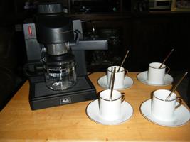 Melitta MEX1B Espresso Cappuccino Maker Machine w/Demitasse Cups Saucers Spoons - $62.95