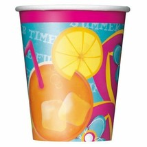 Pool Party 8 Ct 9 oz Hot Cold Paper Cups Beach Ball Splash Summer Fun - $0.98