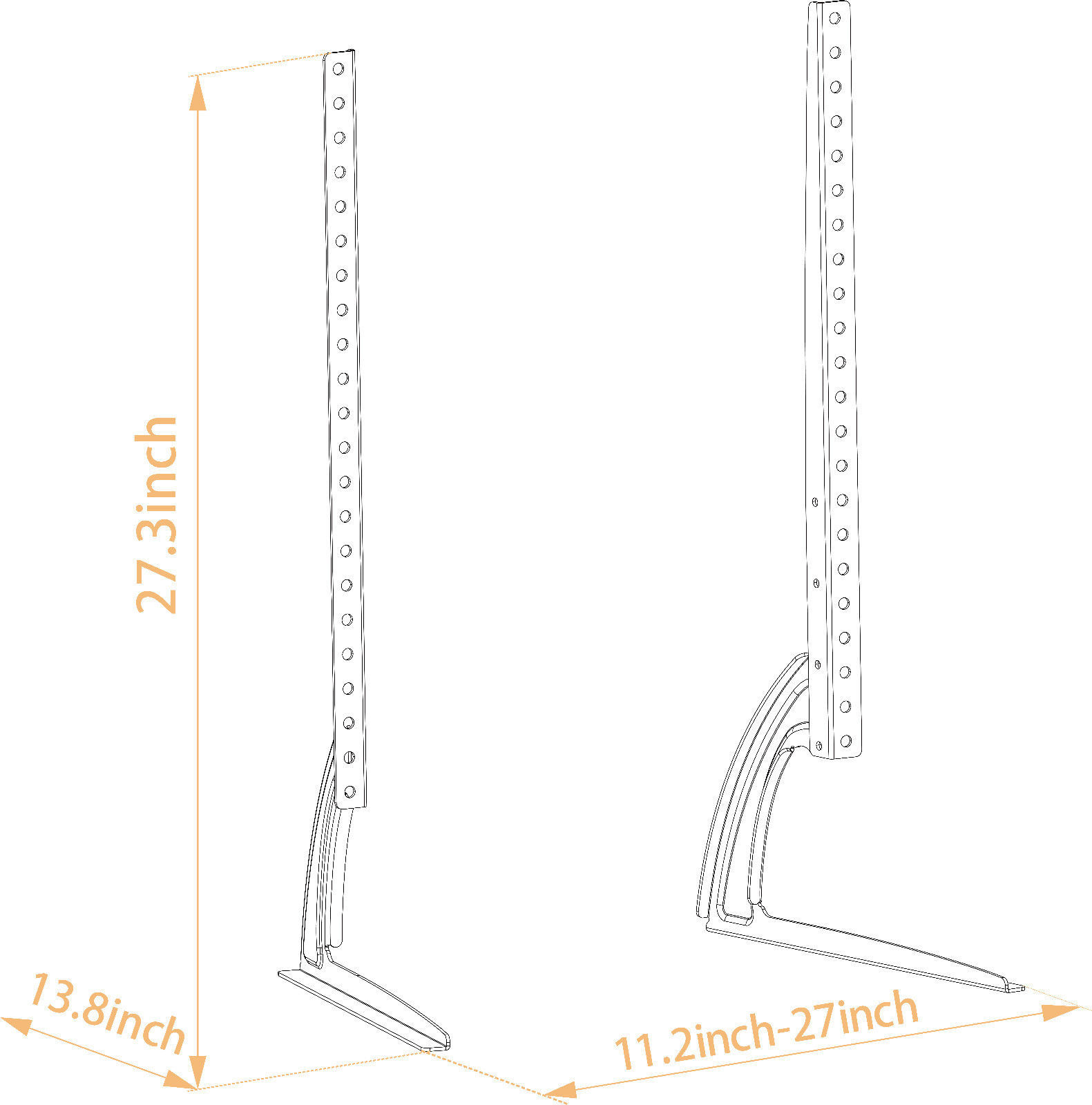 Universal Table Top TV Stand Legs for Sony KDL-55EX621 Height Adjustable