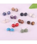 10Pairs Stud Earring Round Bean Natural Gem Stone Bead Women Girls Pink ... - $28.63