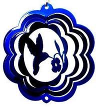 4 in stainless steel blue hummingbird USA 3D hanging yard wind spinner spinners - $11.00