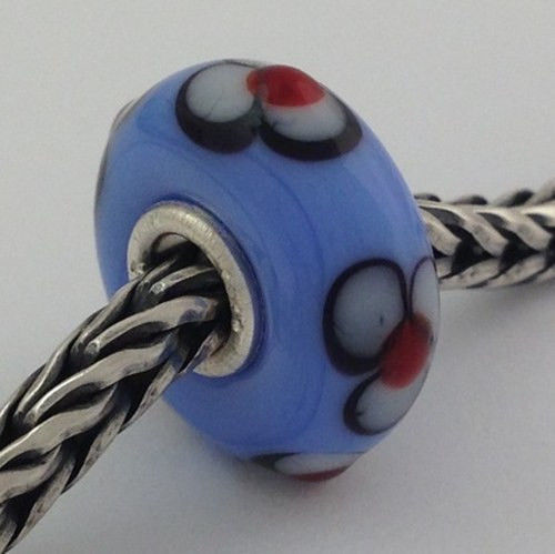 Authentic Trollbeads Retired Blue Flax 61376 New Green Glass Charm Bead