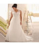 Plus Size Wedding Dresses White/Ivory Bridal Gown Lace A-Line V-Neck Cus... - $109.98