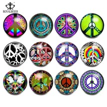 Royalbeier 12pcs Snap Button Jewelry Glass Charms World Peace Sign Print... - $8.93