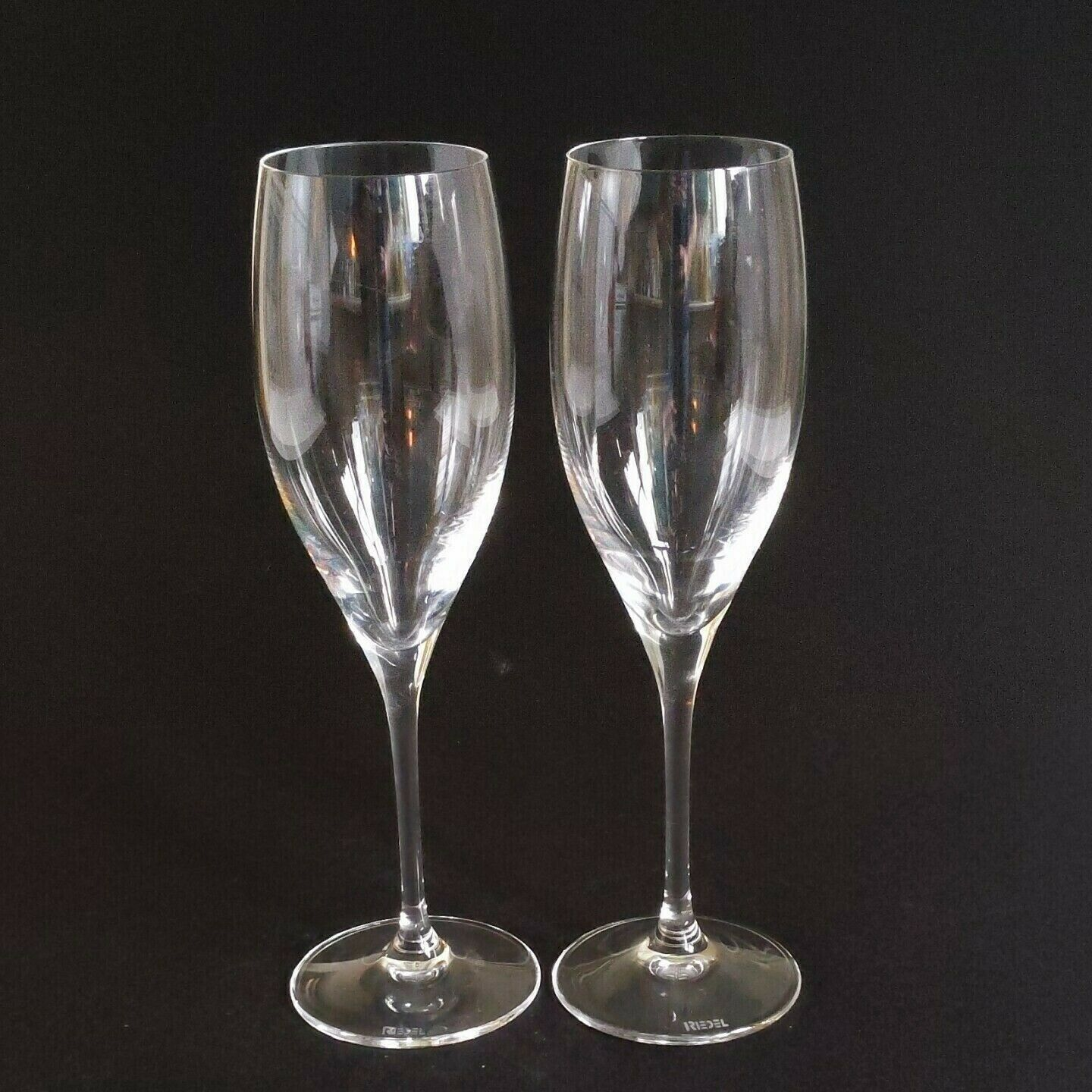2 (Two) RIEDEL VINUM Lead Free Crystal Fluted Champagne Glass - Signed