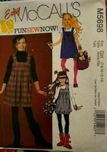 McCalls M5698 Girls Jumpers Sizes 7-14 Summer Fall BTS Uncut Sewing Pattern Easy - $12.71