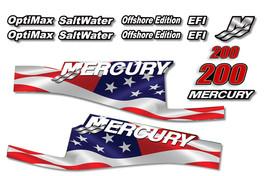 USA MADE Mercury 200 Sticker Decals Outboard Engine Graphic Kit EFI Sticker FLAG - $74.20