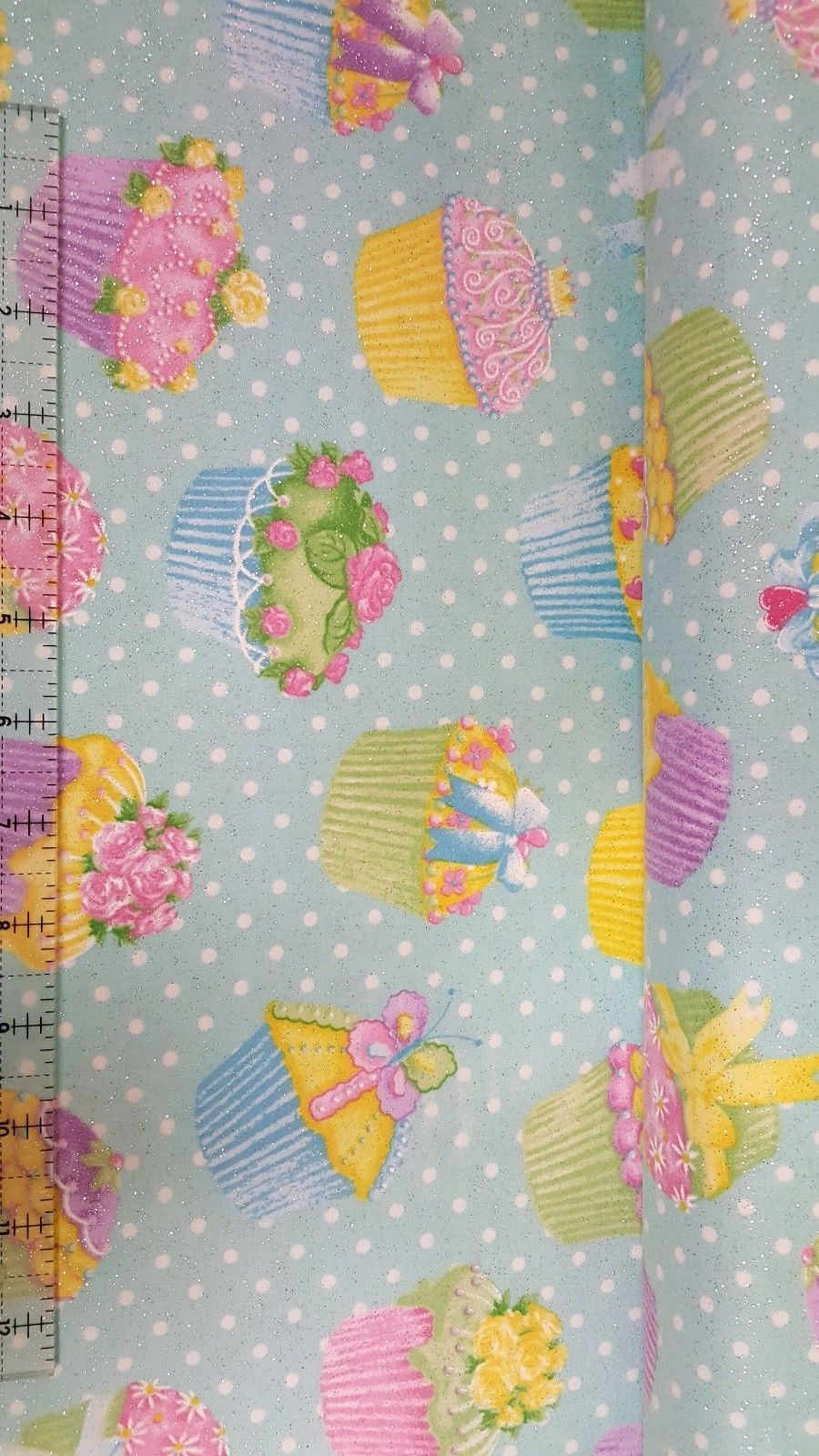 Fabric Traditions Flannel Glitter Cupcake Aqua 100% cotton fabric by the yard