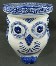 VTG Chinese Cobalt Blue & White Pottery Porcelain Owl Bird Figurine Stoo... - $55.00