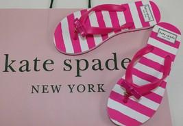 KATE SPADE NY FIFI PINK WHITE STRIPE NASSAU BOW FLIP FLOPS SANDAL FLATS ... - $22.46