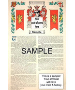DE VALDIVIELSO - DE VALERA Coat of Arms (Armorial Name History) Family C... - $18.99