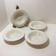 4 Rimmed Cereal Bowls Homer Laughlin White Seville Restaurant Ware Cream  - $26.11
