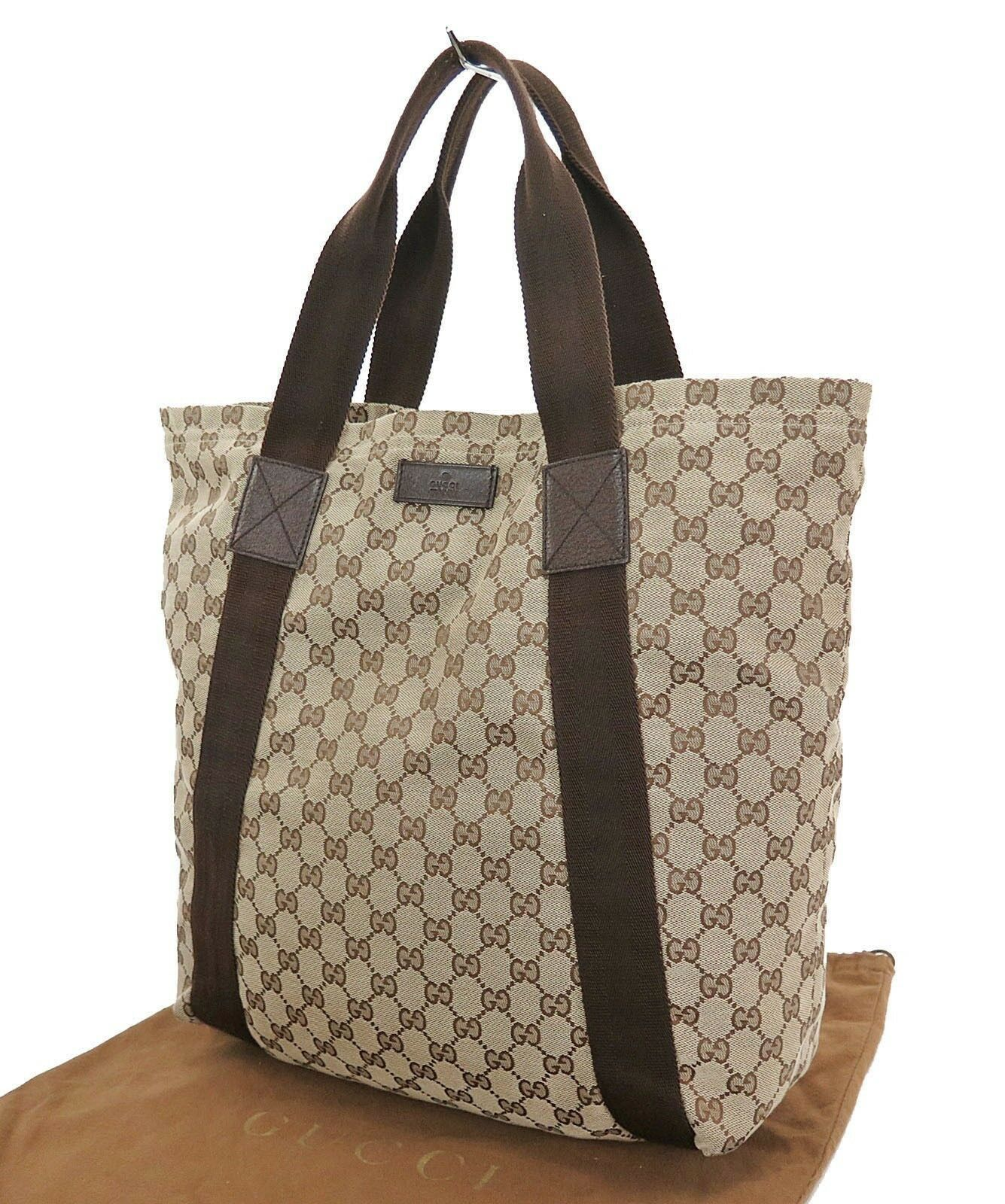 c32fb6788 Authentic GUCCI Brown GG Canvas and Leather Tote Bag Purse #30235 - $359.00