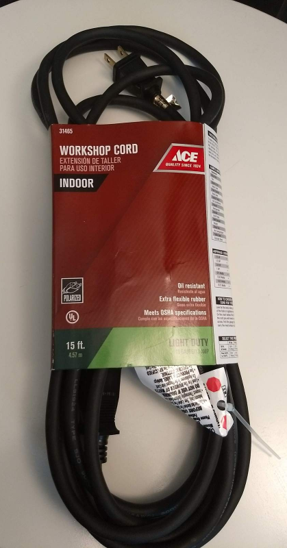 Workshop extension cord 15 foot