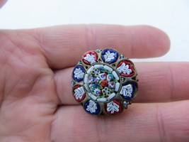 Antique Italy Fine Detail Floral Micro Mosaic Glass Pin, Brooch - $29.99