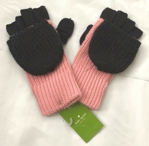 NWT Kate Spade Rose Jade Black Wool Blend Color Block Pop Top Mittens Gl... - $79.19