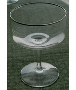 Nice Vintage Footed Champagne Glass, Silver Overlay Trim, VG CONDITION - $8.90