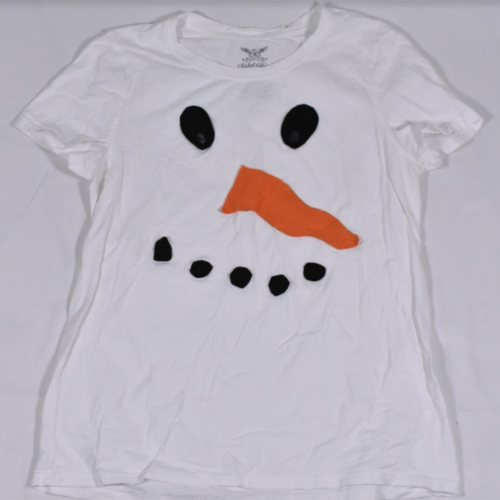 Girls Faded Glory White Snowman T Shirt Size Large Felt Eyes, Nose, Mouth