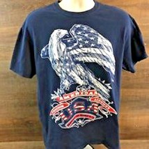 American Freedom Liberty Eagle Pride USA July 4th Men's L Navy Cotton Te... - $10.37