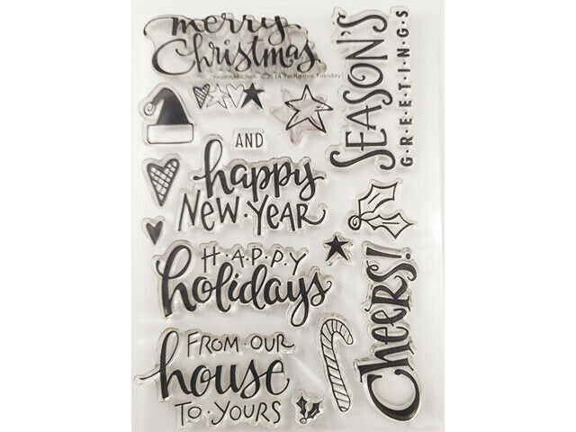 Season's Greeting Sentiments Clear Stamp Set and Icons