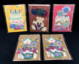 5 Vintage Handmade Fabric Felt Greeting Cards lot w/ Envelopes Birthday - $49.99