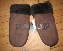 UGG Gloves Mittens Classic Logo Chocolate Shearling L/XL NEW - $125.00