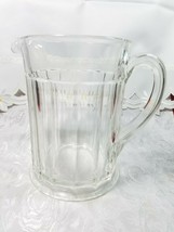 "Vintage Ribbed Glass Pitcher With Flat Bottom 6 1/3"" x 7"" x 4 3/4"""