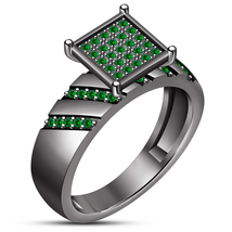 Women's Engagement Ring Green Sapphire 10k Black Rhodium Finish 925 Pure... - ₹6,183.17 INR
