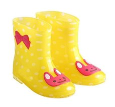 Cute Starry Kids' Rain Boots Yellow Rabbit Children Rainy Days Shoes 18CM